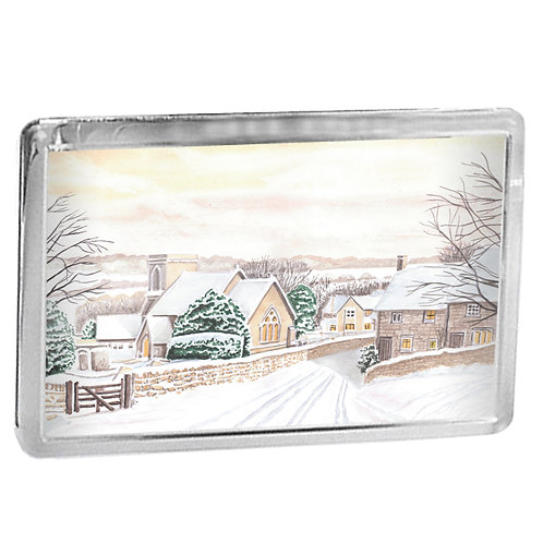 Cotswold Snow - Snowshill In Winter - Fridge Magnet