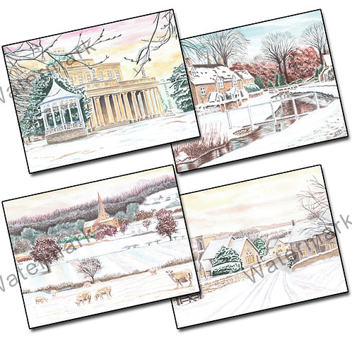 Winter Watercolours - 12 Christmas/Greetings Cards + Envelopes A6