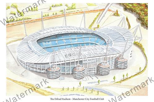 Manchester City - The Etihad Stadium, Limited Edition Print A4 / A3