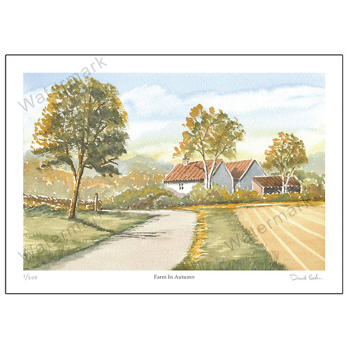 Farm In Autumn, Limited Edition Print A4 or A3