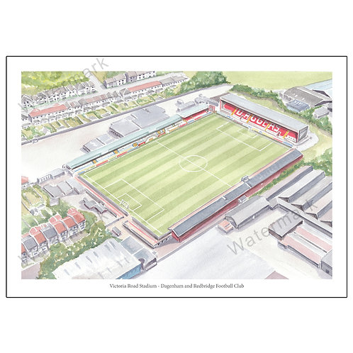 Dagenham and Redbridge FC - Victoria Road Stadium, Limited Edition Print A4 / A3