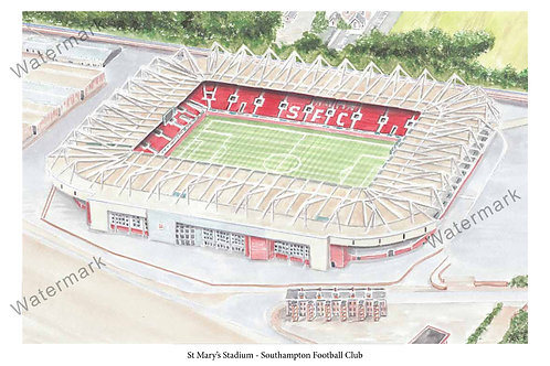 Southampton - St Mary's Stadium, Limited Edition Print A4 / A3