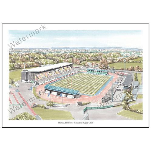 Saracens Rugby Club - StoneX Stadium , Poster Print A4 / A3
