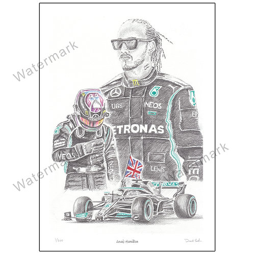 Lewis Hamilton Portrait, Limited Edition Print A4 or A3