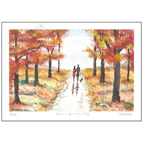 Autumn Couple Wallking A Dog, Print A4