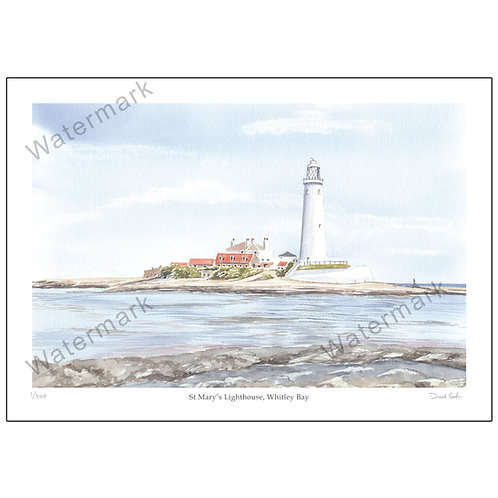 St. Mary's Lighthouse, Whitley Bay, Print A4 or A3