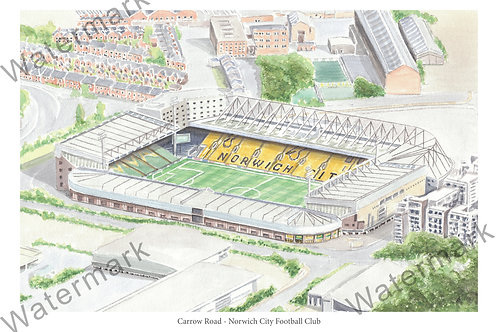 Norwich City FC - Carrow Road, Limited Edition Print A4 / A3