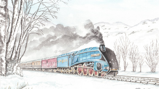 Mallard Class Steam Train In Winter