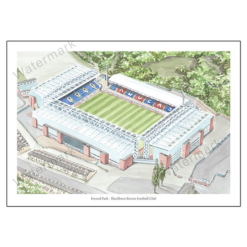Blackburn Rovers Football Club - Ewood Park, Print A4 or A3