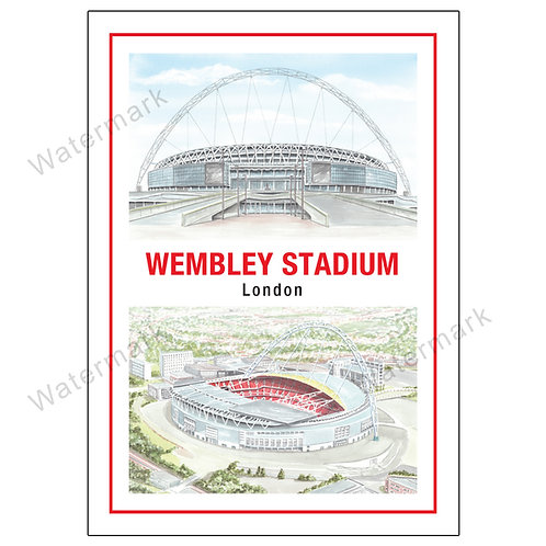 New Wembley Stadium Two Views, Limited Edition Print A4 / A3