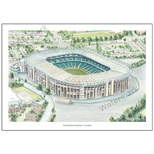 Twickenham Stadium - London, Limited Edition Print A4 / A3