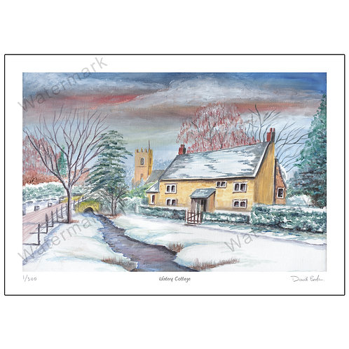 Wintry Cottage, Limited Edition Print A4 or A3
