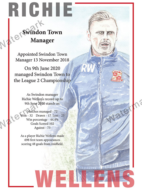 Swindon Town - Richie Wellens Poster, Print A4 or A3