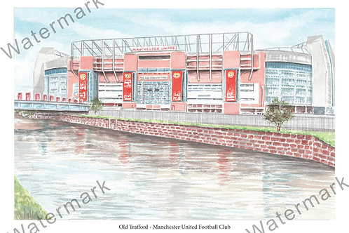 Manchester United - Old Trafford Outside, Limited Edition Print A4 / A3