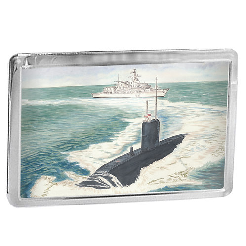 HMS Marlborough and Submarine - Fridge Magnet