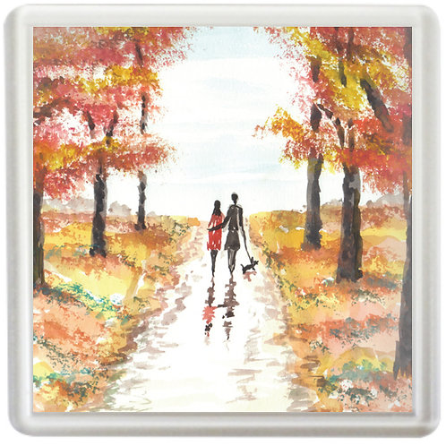 Autumn Couple Walking A Dog - Coaster