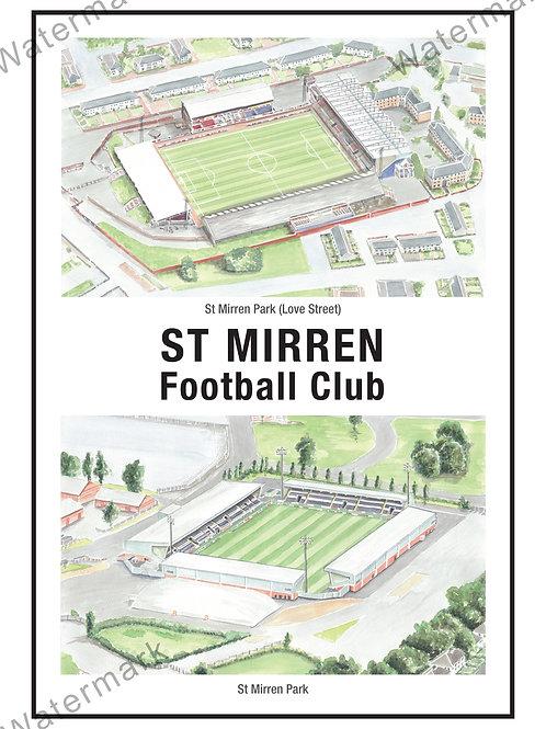 St Mirren Football Club - Two Stadium, Print A4 or A3
