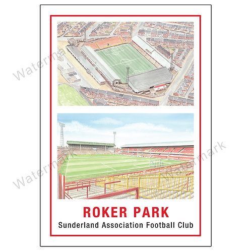 Sunderland AFC,  Roker Park Two Views, Print A4 or A3