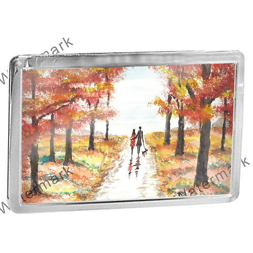 Autumn Couple Walking A Dog - Fridge Magnet