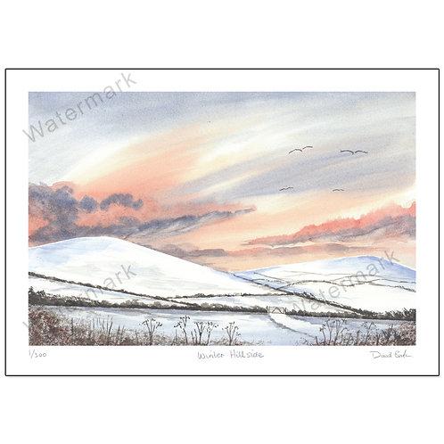 Winter Hillside,  Print A4 or A3