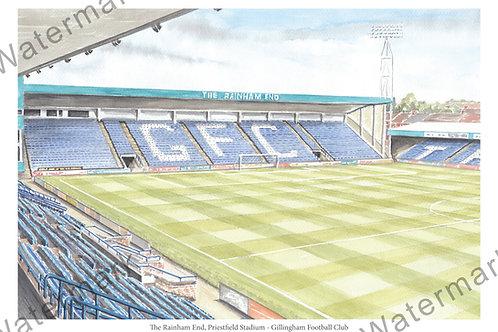 Gillingham Football Club - Priestfield Stadium, Rainham End, Print A4 or A3