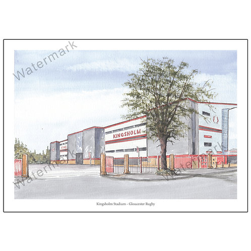 Gloucester Rugby, Outside Kingsholm Poster Print A4 / A3