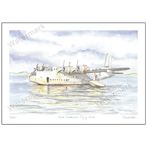 Short Sunderland Flying Boat,  Print A4 or A3