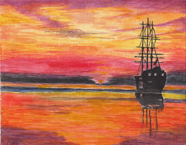 Galleon at Sunset