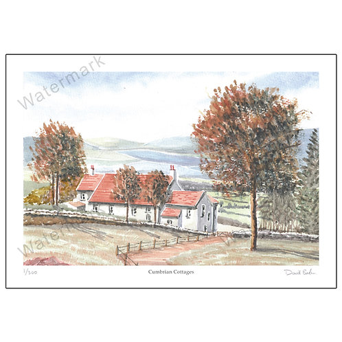 Cumbrian Cottages, Limited Edition Print A4 or A3