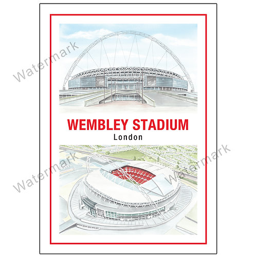 New Wembley Stadium Two Views Design 2, Limited Edition Print A4 / A3