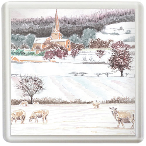 Sheep In Cotswold Landscape - Coaster