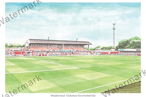 Cheltenham Town FC - Whaddon Road Main Stand , Print A4 or A3