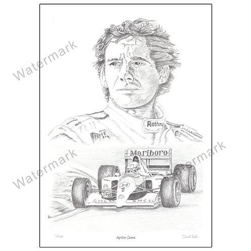Ayrton Senna Portrait, Limited Edition Print A4 or A3