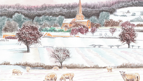 Sheep in a Cotswold Landscape