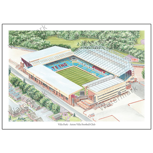 Villa Park Aerial View study 2, Limited Edition Print A4 / A3