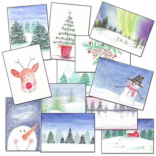 6 Individually Painted Watercolour Christmas Cards + Envelopes A6