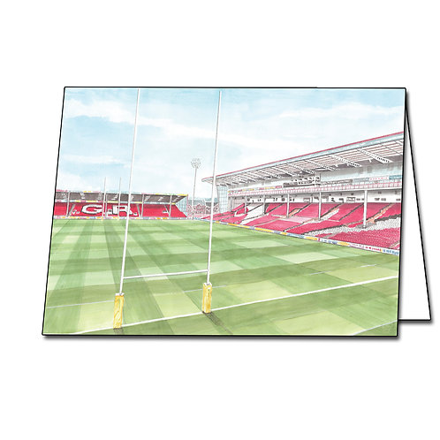 Gloucester Rugby Club - Kingsholm Behind The Posts - Greetings Card A5/A6