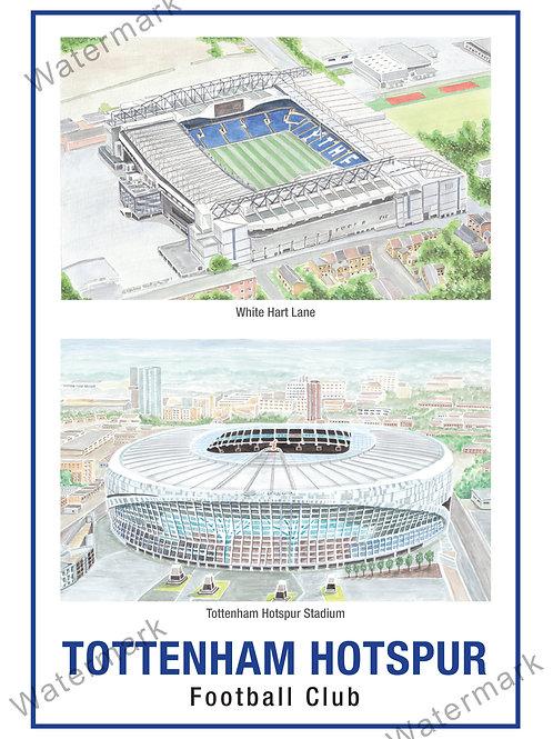 Tottenham Hotspur, 2 Stadiums, Print A4 or A3