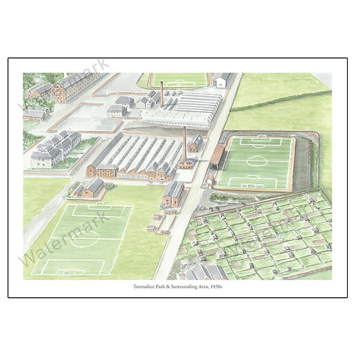 Tannadice Park & Surrounding Area, 1930s, Print A4 or A3