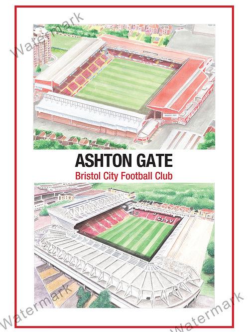 Bristol City FC - Ashton Gate 2 x Stadiums, Print A4 or A3