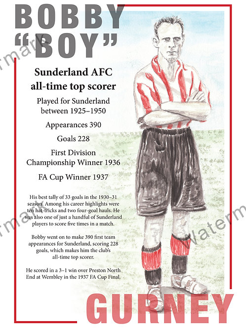 Sunderland AFC - Bobby Gurney Poster, Print A4 or A3