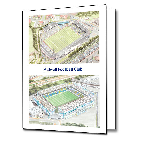 Millwall - Two Stadium - Greetings Card Portrait, A5/A6