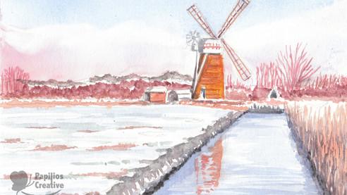 Norfolk Windmill In Winter
