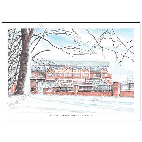 Aston Villa FC - Villa Park In The Snow, Limited Edition Print A4 / A3