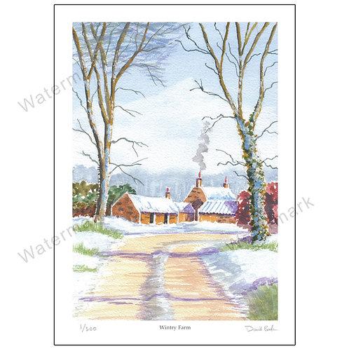 Wintry Farm, Print A4 or A3