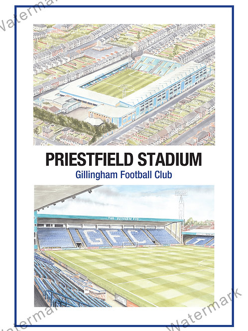 Gillingham - Priestfield Stadium Two Views, Print A4 or A3