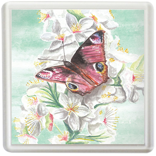 Peacock Butterfly On A Blossom - Coaster