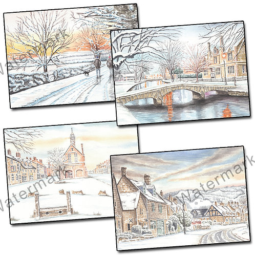 Winter In The Cotswolds - 12 Christmas/Greetings Cards + Envelopes A6