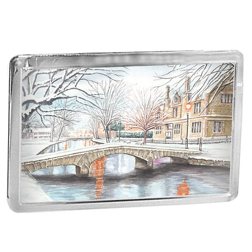 Snowy Bourton-on-the-Water - Fridge Magnet