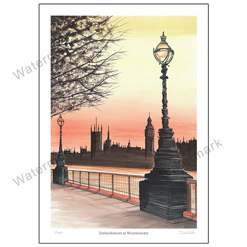 Embankment at Westminster, Limited Edition Print A4 or A3
